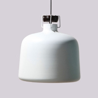Macaron Drum/Tapered Hanging Light One Light Iron Ceiling Pendant in Blue/Red/White for Restaurant
