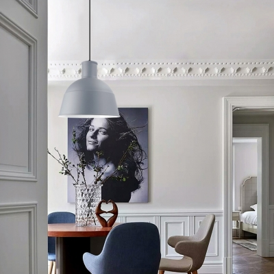 Nordic Style Dome Suspension Light Single Head Metal Ceiling Pendant in Black/Gray/White for Kitchen