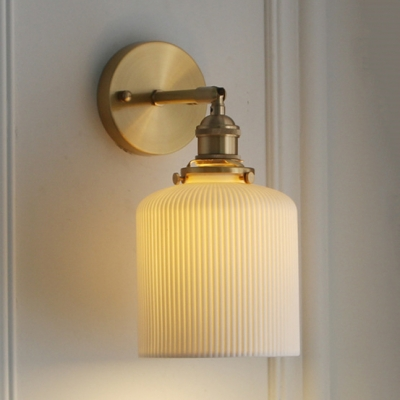 White Capsule/Cylinder/Oval Sconce Light 1 Light Modern Fluted Ceramics Wall Light for Study Room