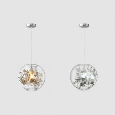 Clear Glass Spherical Pendant Light With Leaf Inside 1 Light Romantic Ceiling Pendant In Gold Silver For Bedroom Beautifulhalo Com