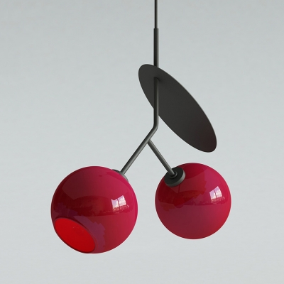 Simple Style Cherry Pendant Light 1/2 Head Glass Hanging Light in Black/Gold/Red for Cafe Bedroom
