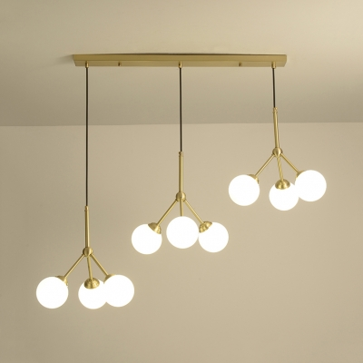 Opal Glass Modo Ceiling Light 3/6/9 Lights Contemporary Hanging Light in Gold for Study Room