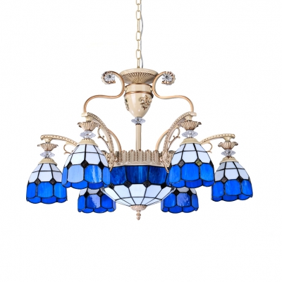 9 Lights Cone Dome Chandelier Mediterranean Style Glass Hanging Lamp in Blue for Living Room