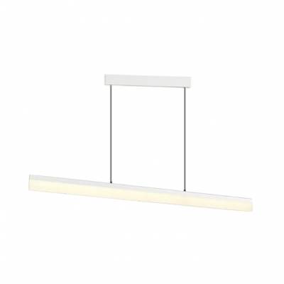 Acrylic Plate Linear Pendant Light Modern Long Life LED Hanging Light in Black/Brown/White for Bedroom