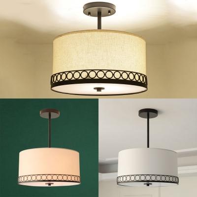 American Rustic Drum Ceiling Lamp Fabric 5 Lights White Semi Flush Mount Light for Living Room