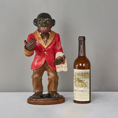 Animal Gold/Red Table Light Monkey & Wine Bottle 1 Head Resin Glass Desk Light for Restaurant