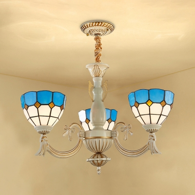 Art Glass Dome Chandelier 3 Lights Mediterranean Style Pendant Lamp in Blue for Foyer