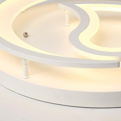 Bedroom Moon & Heart Flush Mount Light Acrylic Modern White Ceiling Light Fixture for Bedroom