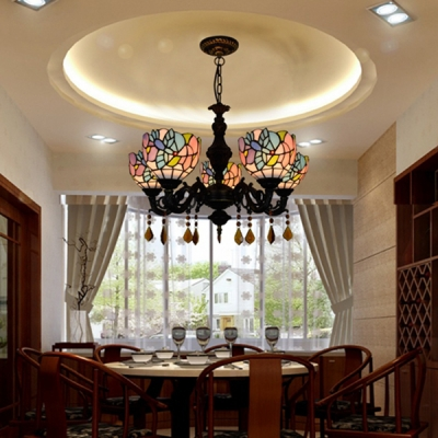 Bowl Shade Pendant Light with Crystal 5 Lights Rustic Style Stained Glass Chandelier for Shop Bar