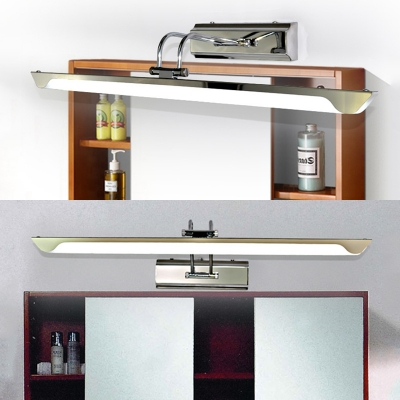 Contemporary Linear LED Vanity Light Stainless Steel 16/23.5 Inch Sconce Light with White Lighting for Mirror