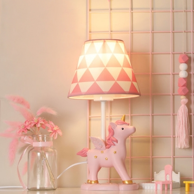 Girl Bedroom Unicorn Desk Light Resin 1 Light Animal Pink LED Reading Lamp with Plug In Cord