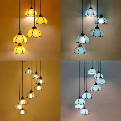 Glass Bowl Shape Pendant Light 5/8 Heads Tiffany Vintage Style Hanging Light for Swirl Glass