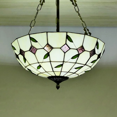 Glass Dome Shade Pendant Light Dining Room Tiffany Style Rustic Chandelier with Leaf