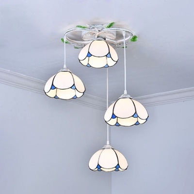 Glass Dome Shade Pendant Light Living Room Hotel 4 Heads Tiffany Stylish Ceiling Lamp with 5 Designs for Option