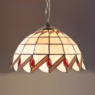 Glass Grid Bowl Hanging Lamp Shop 12 Inch Tiffany Style Rustic Suspension Light in Beige
