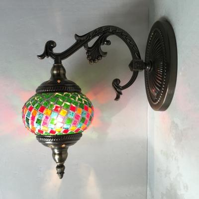 Glass Grid Lantern Wall Light Foyer Hallway 1 Light Moroccan Mosaic Wall Sconce in Brass