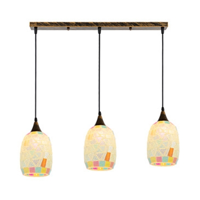 Glass Oval Shade Island Pendant 3 Lights Tiffany Style Suspension Light in Beige for Study Room