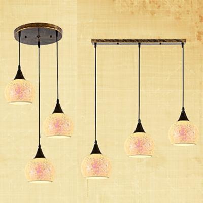 Gl Sphere Shade Pendant Light Restaurant 3 Lights Morocco Style