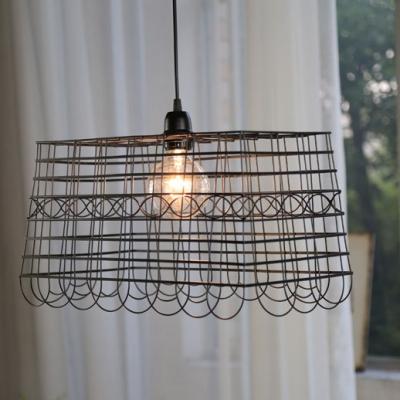 Metal Square Cage Pendant Light 1 Light Industrial Suspension Light in Black for Cafe Bar