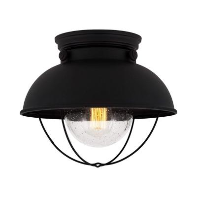 Domed Living Room Ceiling Mount Light Metal 1 Light Vintage Style Flush Light in Black Finish
