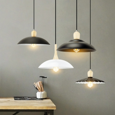Industrial Black Pendant Light Double Bubble 1 Light Metal Hanging Light for Factory Garage