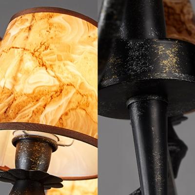 Industrial Tapered Shade Chandelier Metal 6 Lights Brown Pendant Light for Restaurant Villa