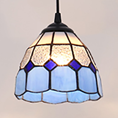 Mediterranean Style Lattice Dome Pendant Light Glass 1 Light Blue Ceiling Light for Bedroom