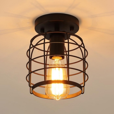 Metal Birdcage Flush Mount Light Hallway Bathroom 1 Light Industrial Ceiling Lamp In Black Beautifulhalo Com