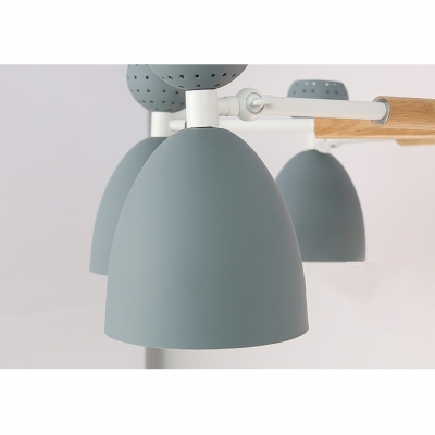Metal Bowl Shade Hanging Light 6 Lights Nordic Style Candy Colored Pendant Light for Kid Bedroom