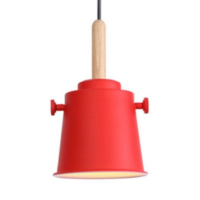 Metal Bucket Shade Pendant Lamp One Light Industrial Hanging Light for Restaurant Bedroom