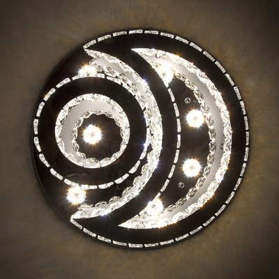Metal Star Mood Ceiling Light with Crystal Third Gear Luxurious LED Ceiling Fixture in Chrome for Bedroom