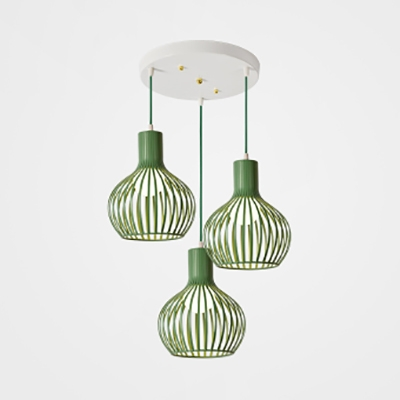 Metal Wire Frame Hanging Lamp with Round Canopy Shop 3 Lights Nordic Style Suspension Light in Green/Grey/Pink/Yellow