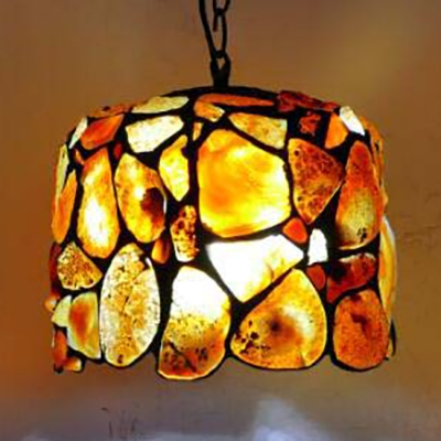Multi-Color Agate Pendant Light 10 Inch Tiffany Antique Ceiling Lamp for Dining Table