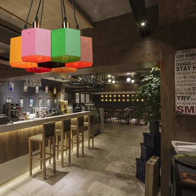 Multi-Color Square Pendant Light 6 Heads Industrial Metal Suspension Light for Bar Restaurant