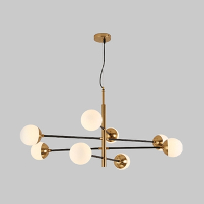 Nordic Style Gold Suspension Light with Globe Shade 4/6/8 Lights Opal Glass Chandelier for Restaurant