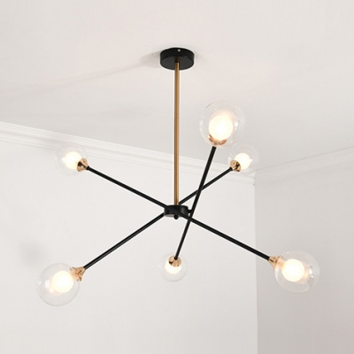 Nordic Stylish Starburst Chandelier 6/8 Lights 5 Design Glass Optional Pendant Light for Bedroom