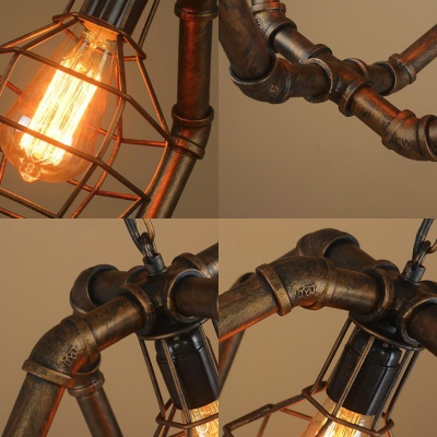 One Light Wire Frame Suspension Light with Pipe Industrial Metal Hanging Light in Aged Brass for Restaurant
