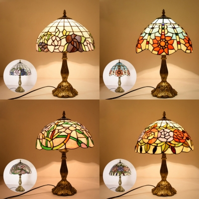Plant Living Room Table Lamp Stained Glass One Light Rustic Tiffany Desk Light with Plug-In Cord