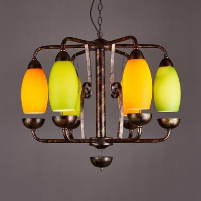 Rustic Style Curved Shade Chandelier Glass Metal 6 Lights Rust Pendant Light for Restaurant KTV