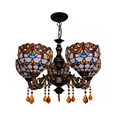 Stained Glass Bowl Chandelier 5 Lights Tiffany Style Victorian Pendant Light for Restaurant