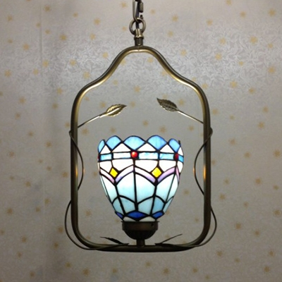 Stained Glass Suspension Light Living Room Single Light Tiffany Rustic Ceiling Light in Brass