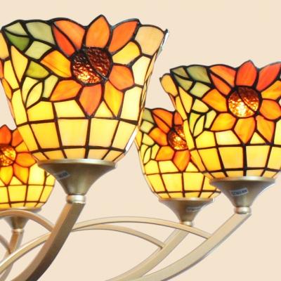 Tiffany Style Chandelier with Leaf/Sunflower 6/8 Lights Metal Pendant Light for Bedroom Hotel