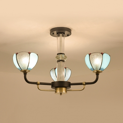Tiffany Style Dome Chandelier 3 Lights Glass Metal Pendant Light in Blue for Hallway