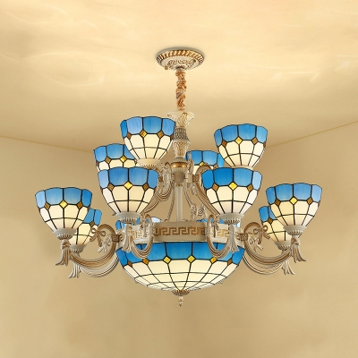 Tiffany Style Nautical Blue Chandelier Dome Shade Glass Hanging Lamp for Living Room Villa