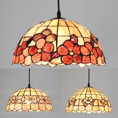 Tiffany Vintage Petal Pendant Light 12 Inch Shell Suspension Light in Beige for Restaurant