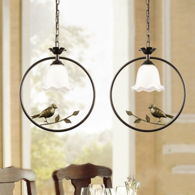 Traditional Flower Pendant Light with Bird & Circle/Oval Ring Frosted Glass Hanging Lamp for Balcony