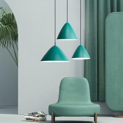 Triangle Restaurant Hanging Light Aluminum 1 Light Macaron Loft Pendant Light in Blue/Green/Pink/Yellow