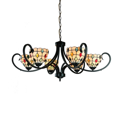 Villa Hotel Bowl Chandelier Glass Metal 5/6/8 Lights Tiffany Style Rustic Hanging Lamp with Colorful Jewelry