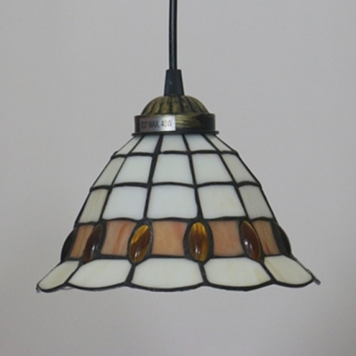 1 Light Grid Bell Hanging Light Tiffany Style Glass Pendant Light in White for Living Room
