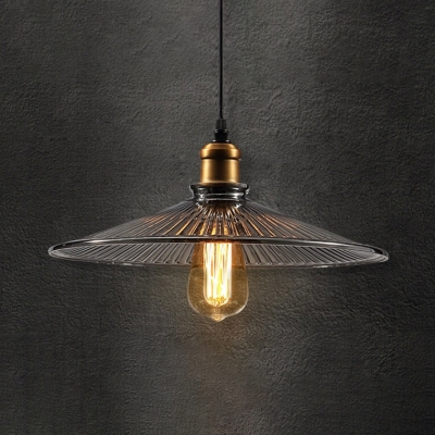 Vintage Style Brass Hanging Lamp Cone Shade 1 Light Fluted Glass Pendant Lamp for Restaurant, HL534175
